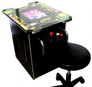 Arcade Game Console Door Side with Stools